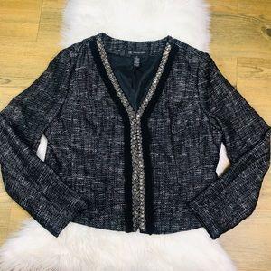 INC Black & White Embellished Tweed Blazer SZ  XL